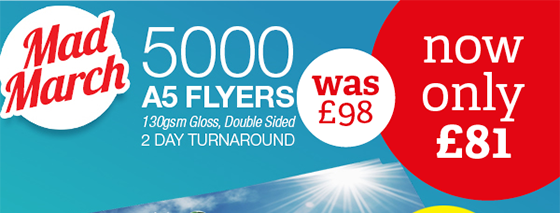 Printed Flyer Offer Northampton - 5000, Double Sided, A5 Flyers - JUST £81